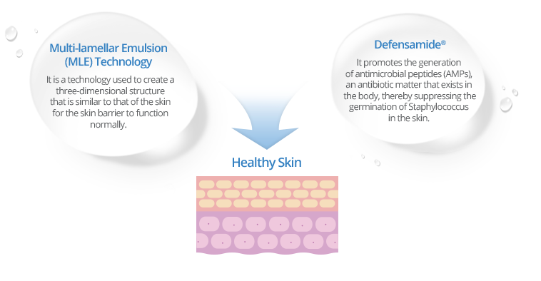 Multi-lamellar Emulsion(MLE) Technology:It is a technology used to create a three-dimensional structure that is similar to that of the skin for the skin barrier to function normally. / DefensamideTM:It promotes the generation of antimicrobial peptides (AMPs), an antibiotic matter that exists in the body, thereby suppressing the germination of Staphylococcus in the skin.